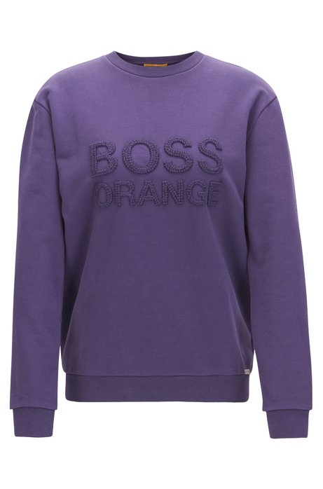 Crew-neck sweater in French terry, Dark Purple
