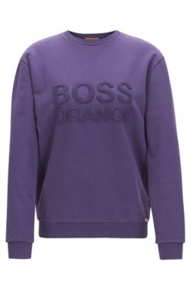 Cotton sweatshirt with embroidered logo: 'Talogo', Dark Purple