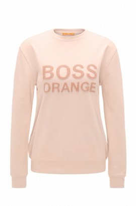 Crew-neck sweater in French terry, light pink