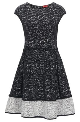 Cotton-blend dress in two-tone herringbone, Patterned