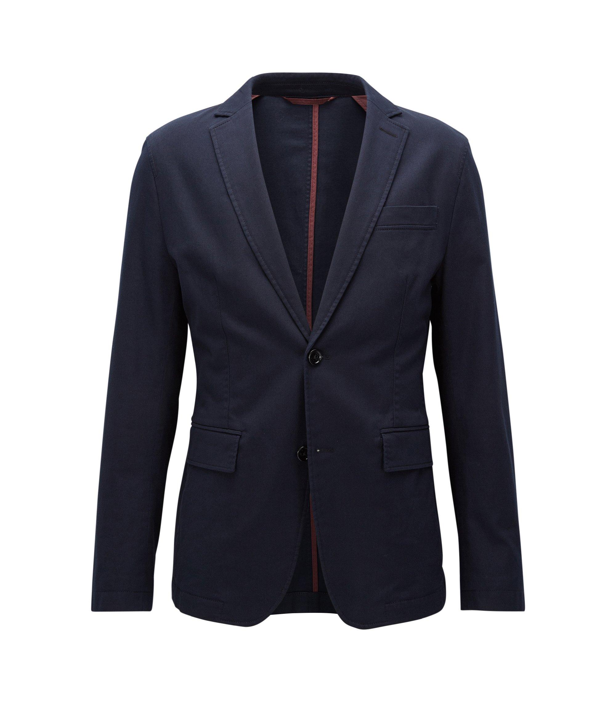 Ongestructureerde slim-fit jas van stretchkatoen, Donkerblauw
