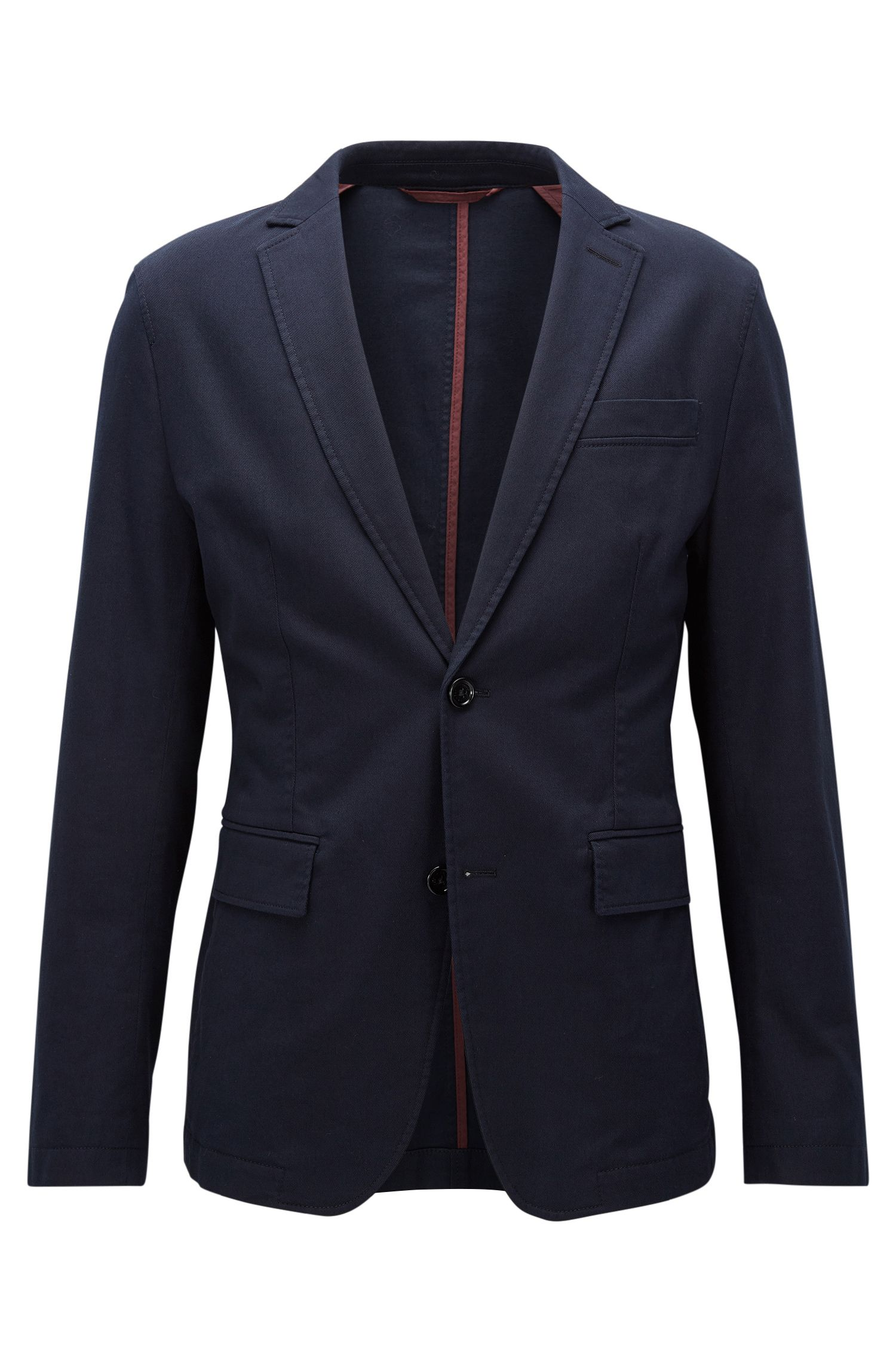 Veste Slim Fit déstructurée en coton stretch