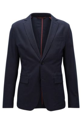 Slim-fit unstructured stretch-cotton jacket, Dark Blue