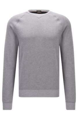 Mouliné sweatshirt in soft cotton, Grey