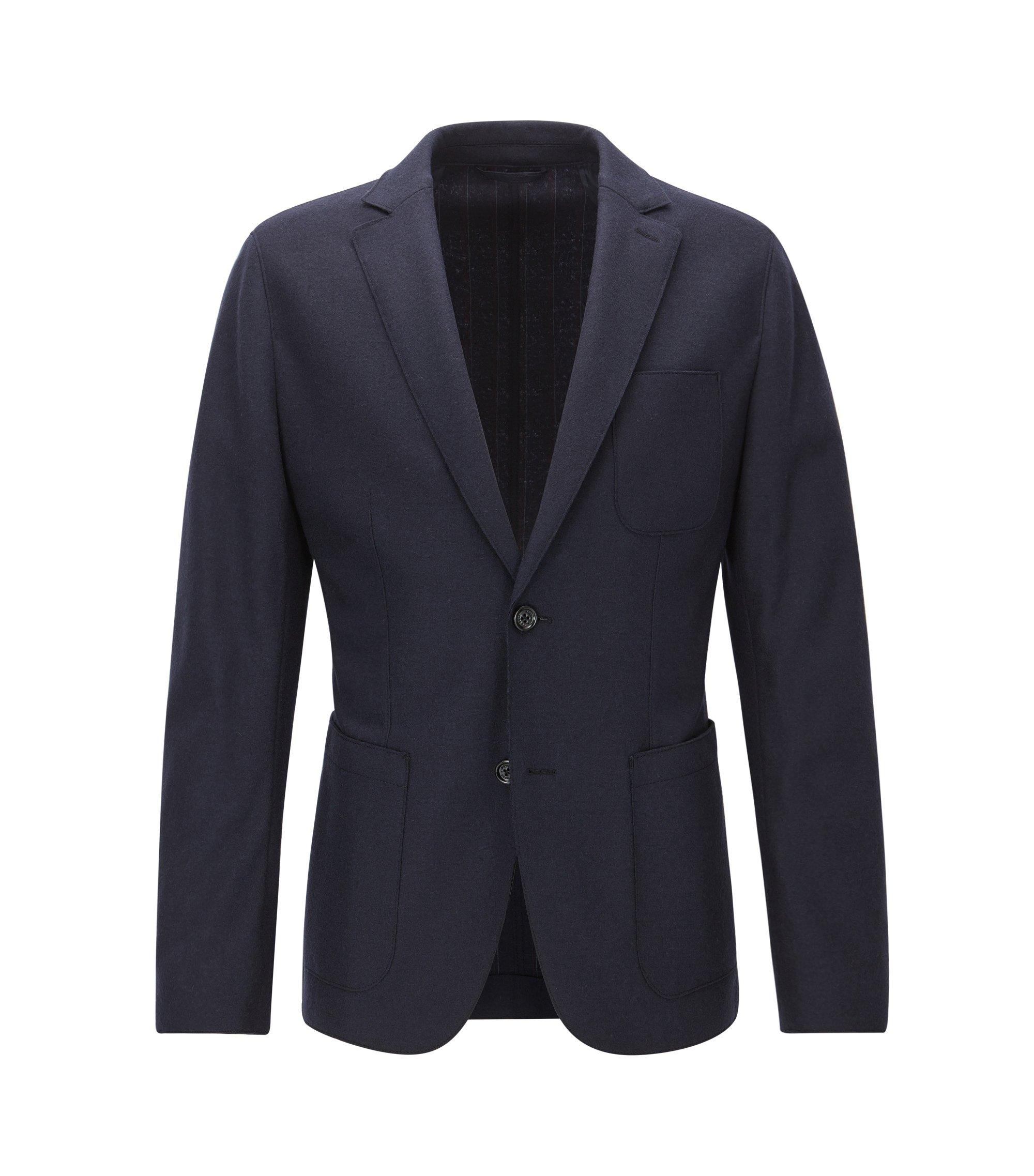 Chaqueta de punto slim fit en lana virgen con bordes sin rematar, Azul oscuro