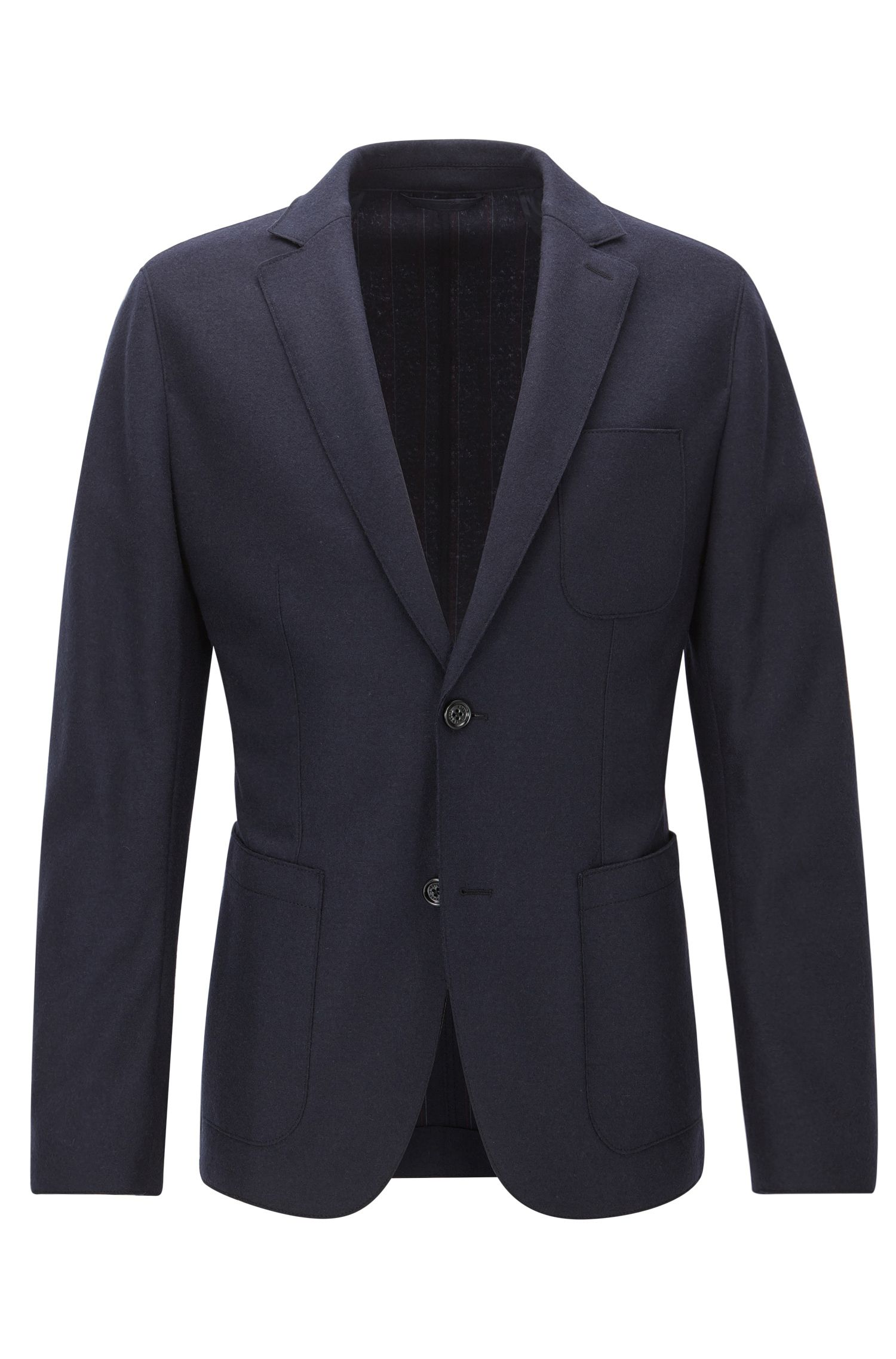 Slim-fit virgin wool jersey jacket with raw-cut edges