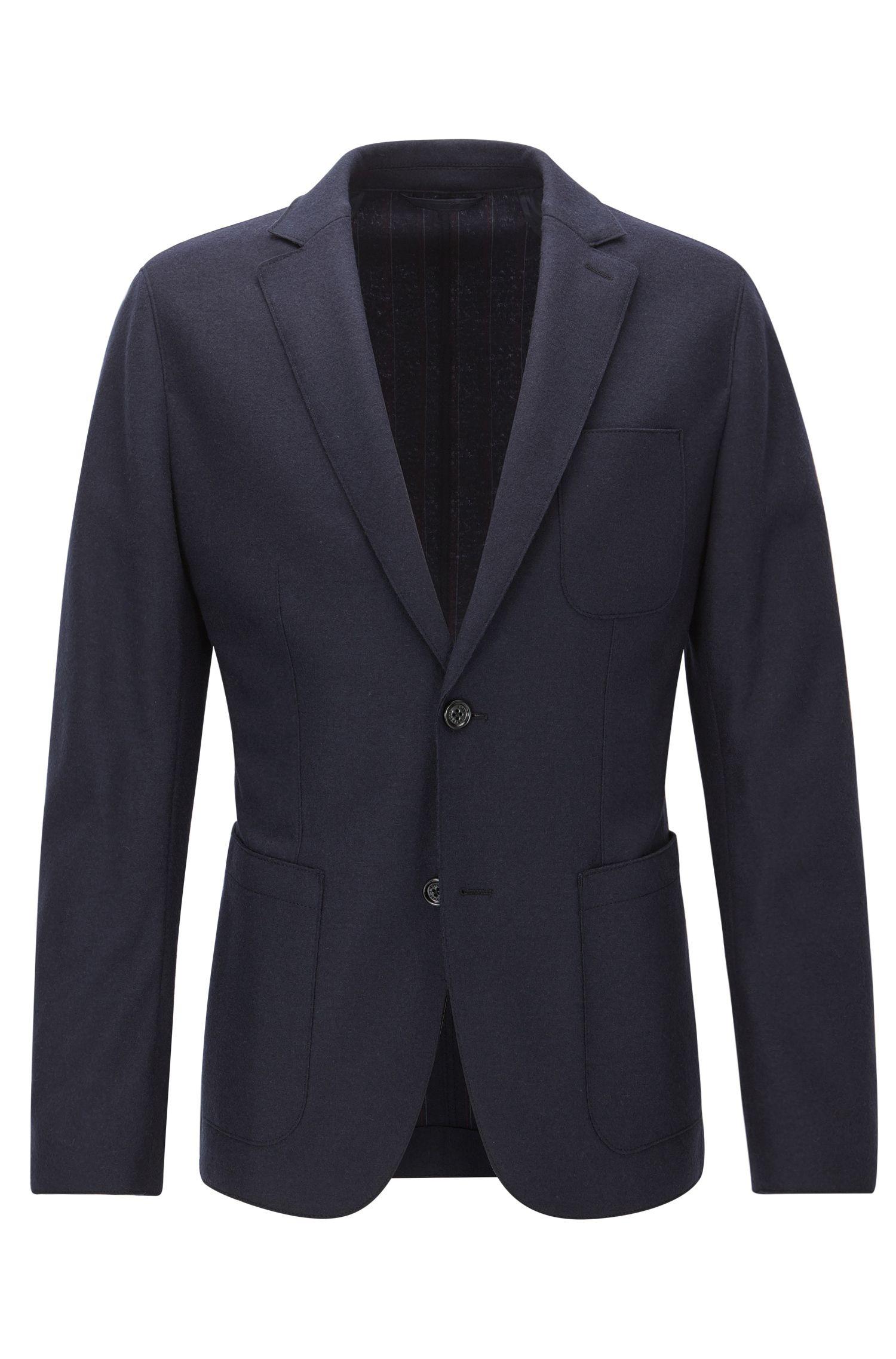 Veste Slim Fit en jersey de laine vierge à bords bruts