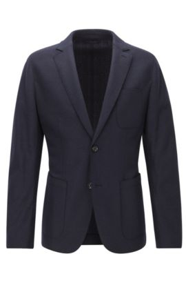 Slim-fit virgin wool jersey jacket with raw-cut edges, Dark Blue