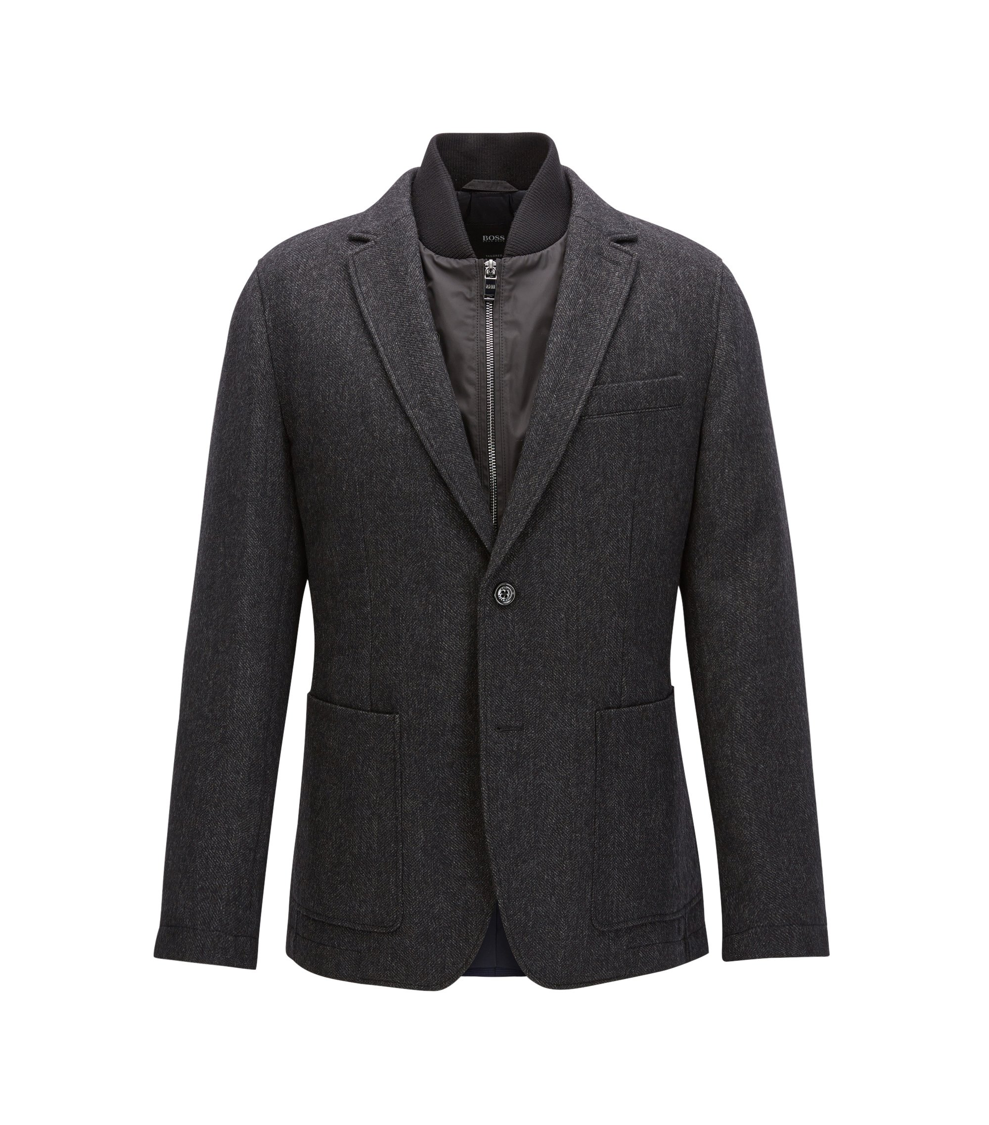 Blazer regular fit in lana con gilet rimovibile, Grigio scuro