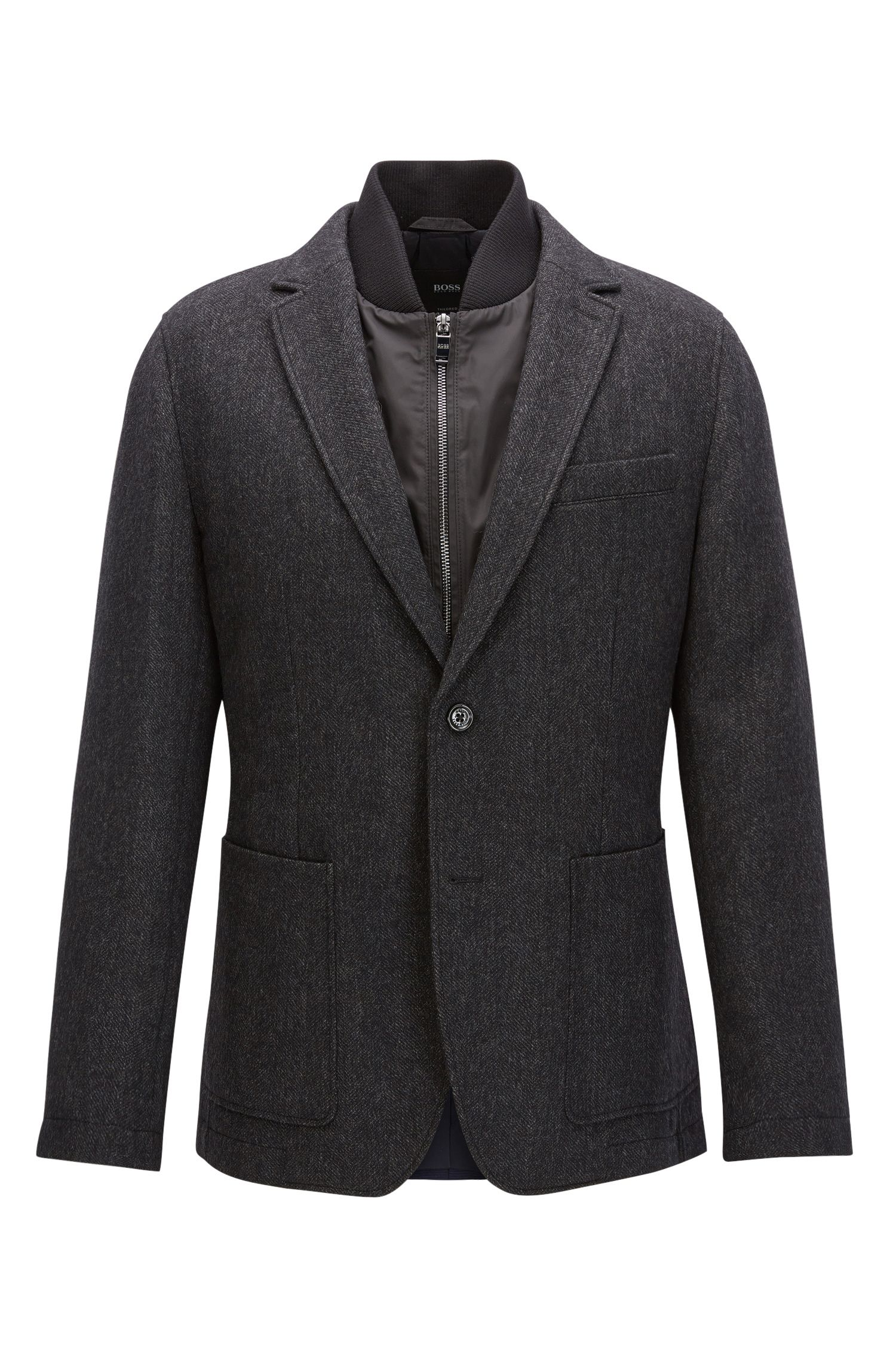 Regular-fit wool blazer with detachable vest