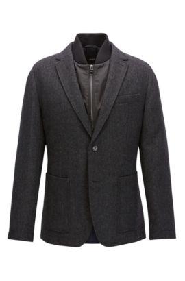 Regular-Fit Sakko aus Wolle mit herausnehmbarer Weste, Dunkelgrau