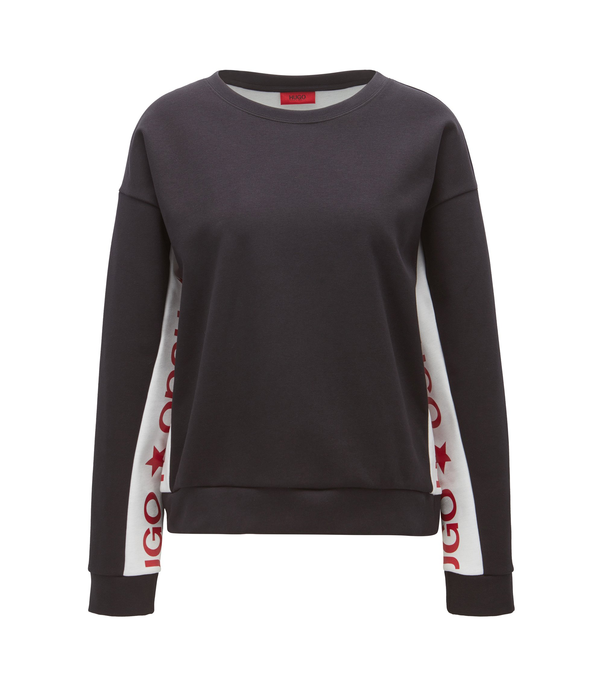 Cotton-blend sweater with contrast inserts, Patterned