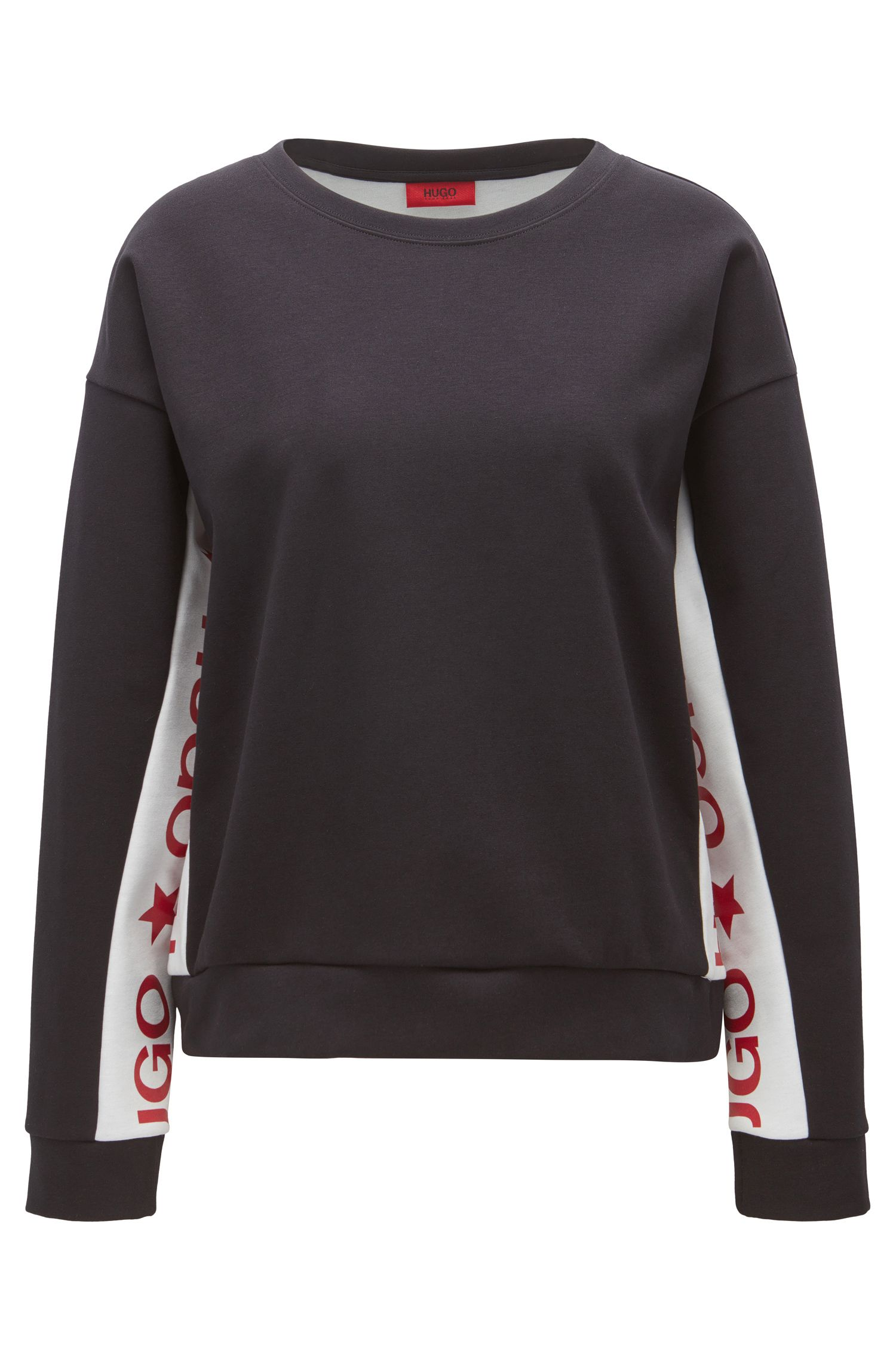 Cotton-blend sweater with contrast inserts
