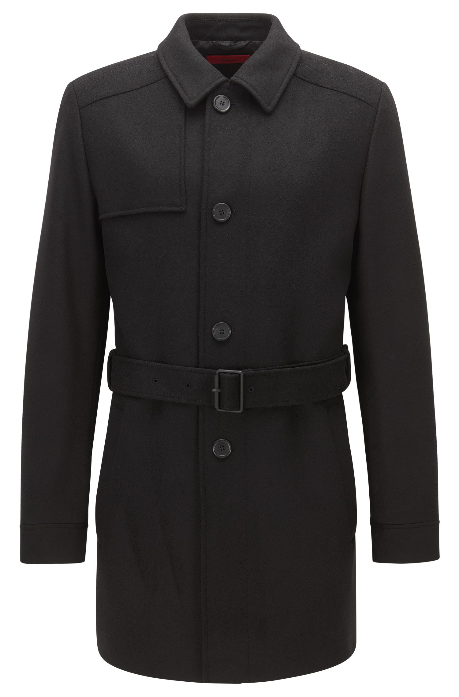 Slim-fit trench coat in virgin wool and cashmere