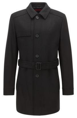 Trench slim fit in lana vergine e cashmere, Nero