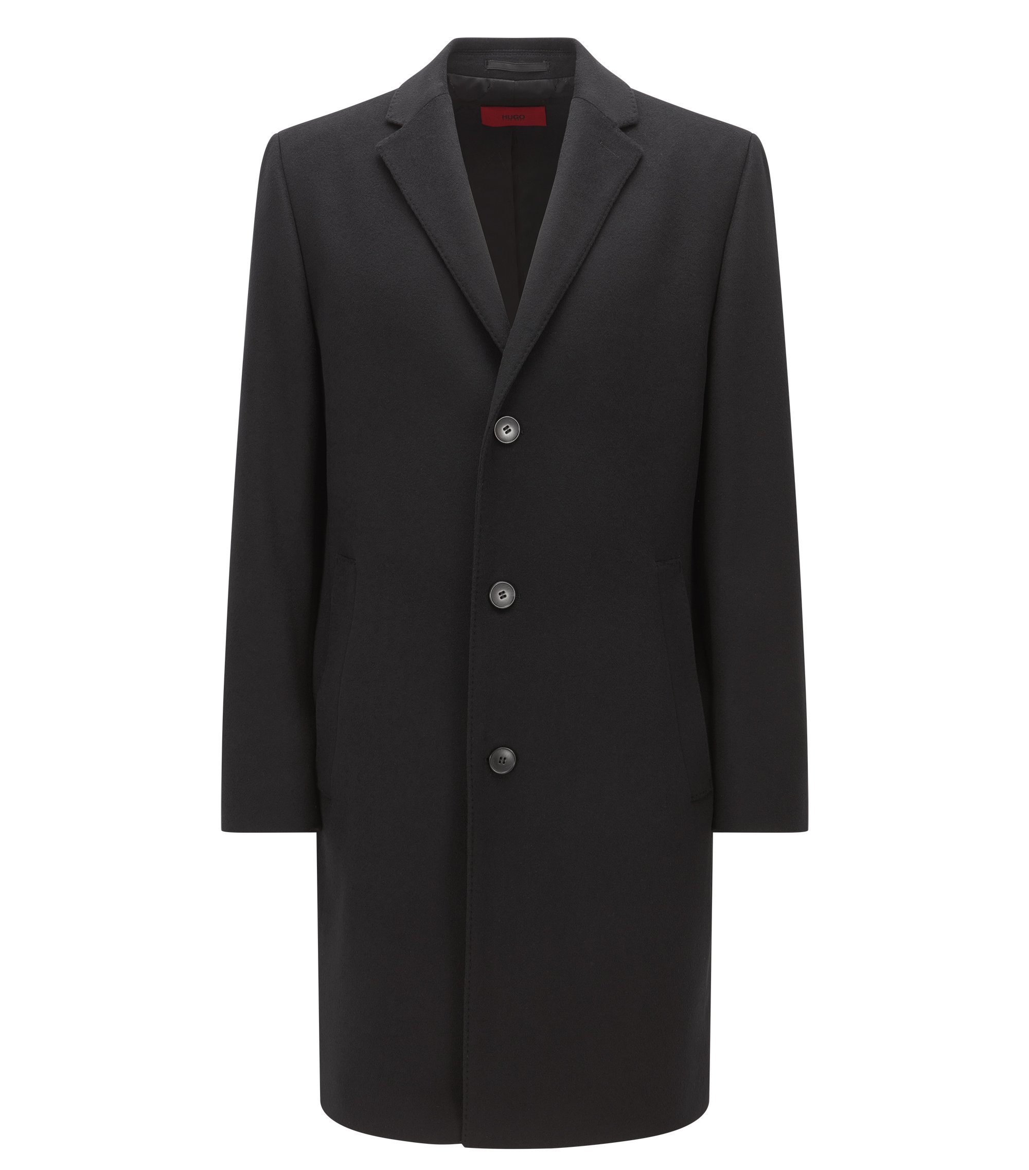 Wool-blend overcoat in a regular fit, Black