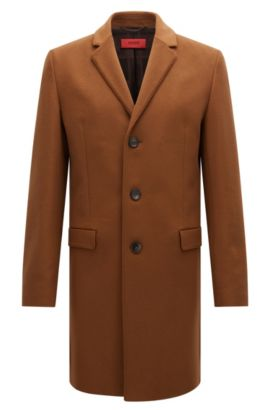Slim-fit coat in virgin wool and cashmere, Brown