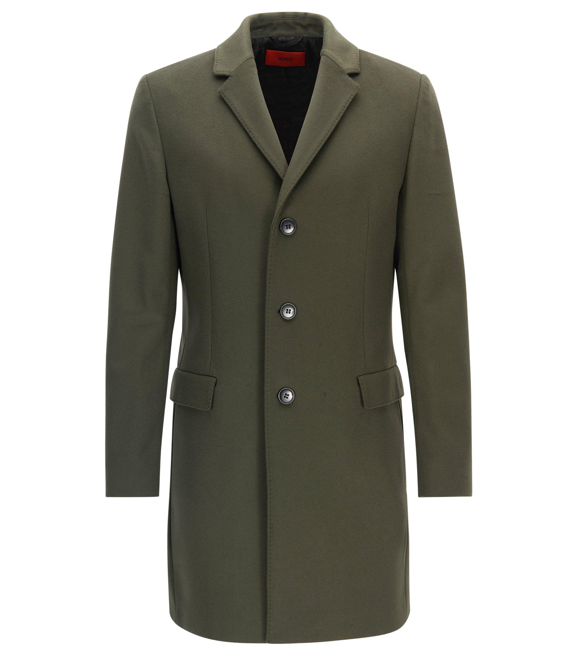 Slim-fit mantel van scheerwol en kasjmier, Donkergroen