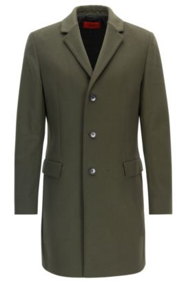 Cappotto slim fit in lana vergine e cashmere, Verde scuro