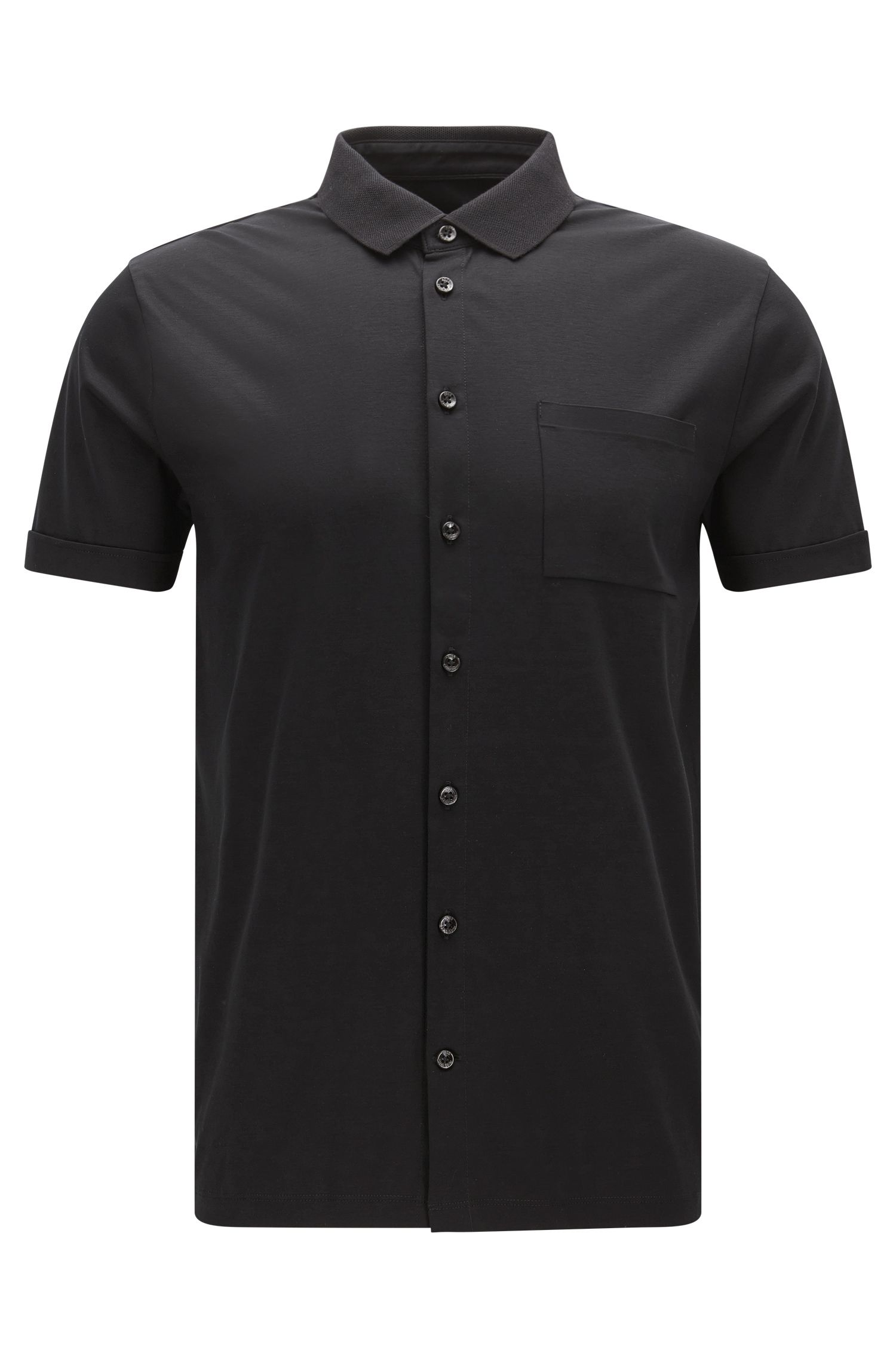 Slim-fit button-up polo shirt in interlock cotton
