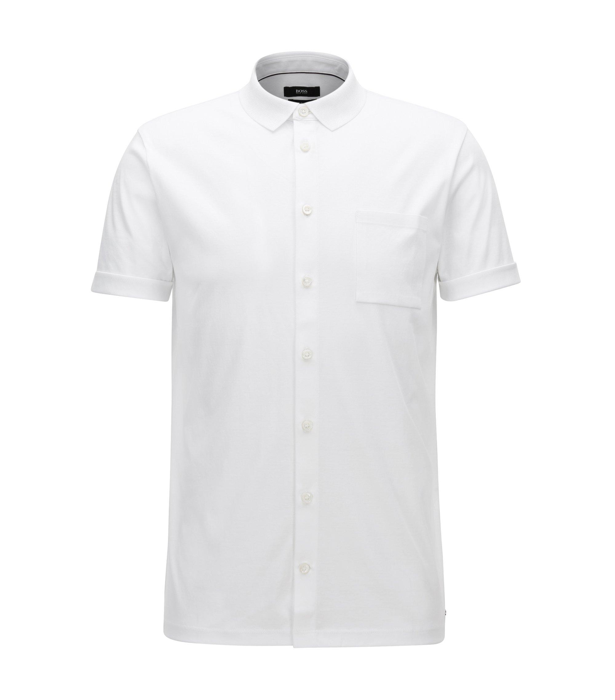 Polo Slim Fit entièrement boutonné, en coton interlock, Blanc