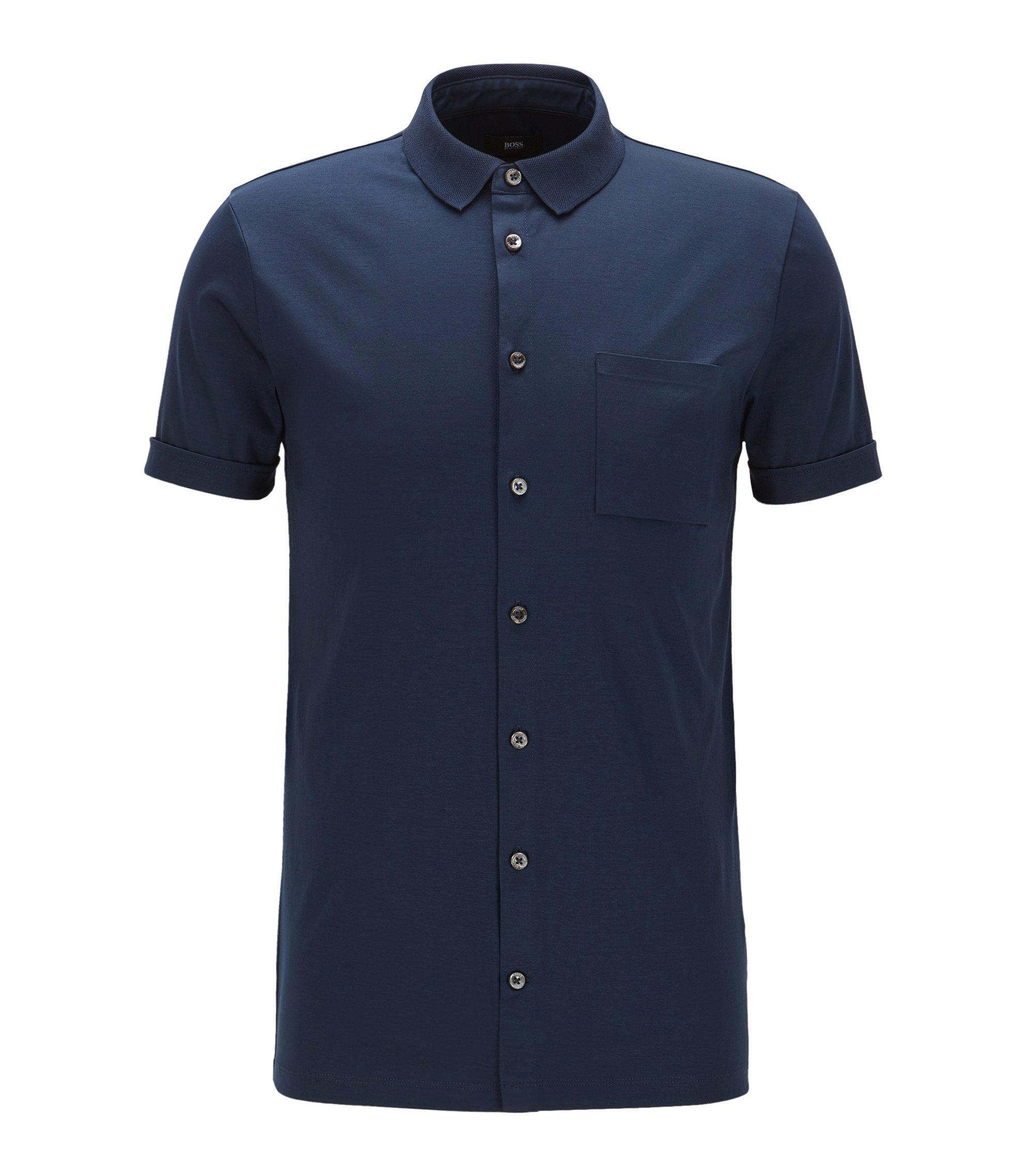 Polo slim fit con botones en algodón interlock, Azul oscuro