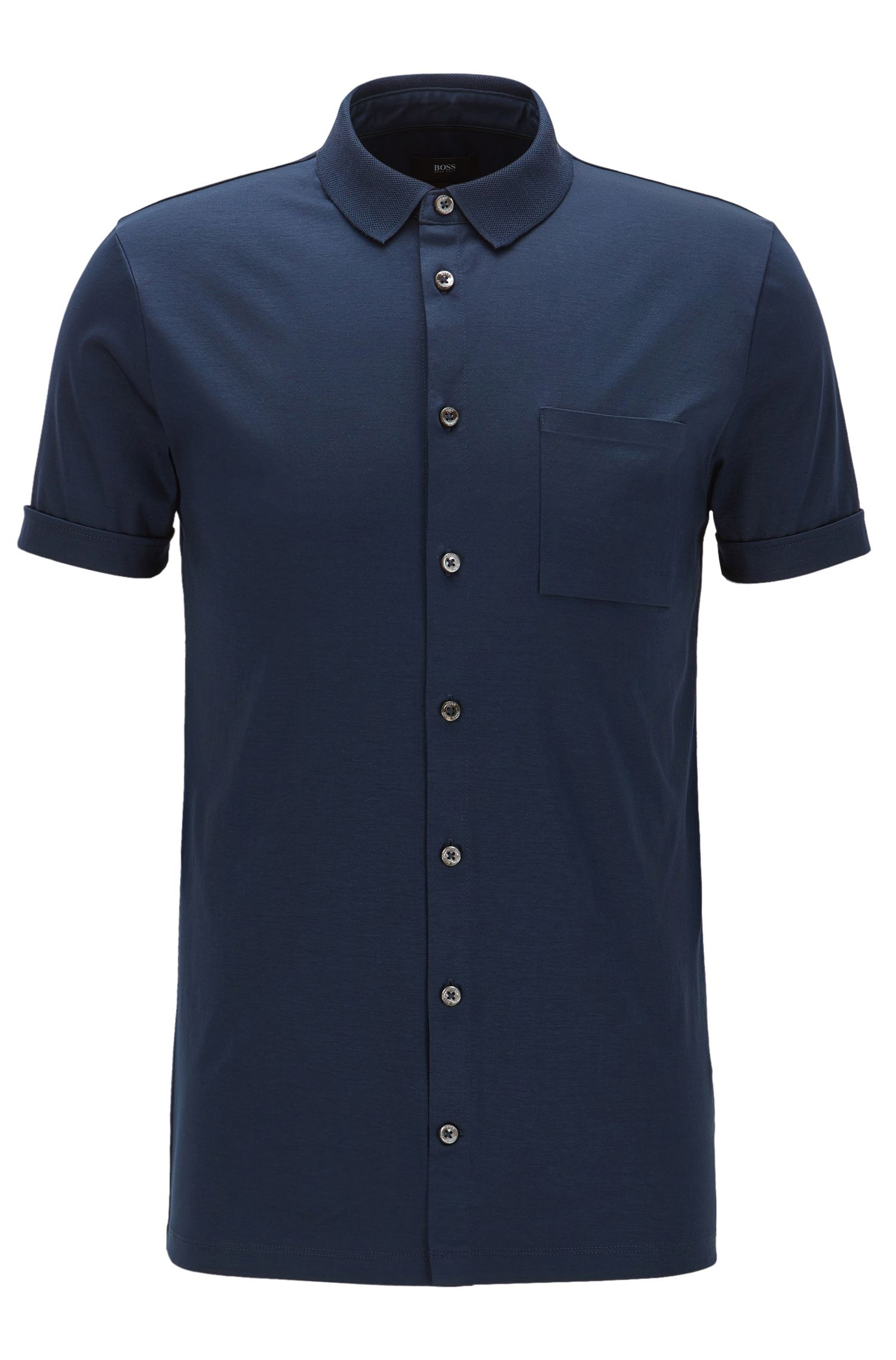 Polo slim fit con botones en algodón interlock