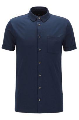 Polo Slim Fit entièrement boutonné, en coton interlock, Bleu foncé