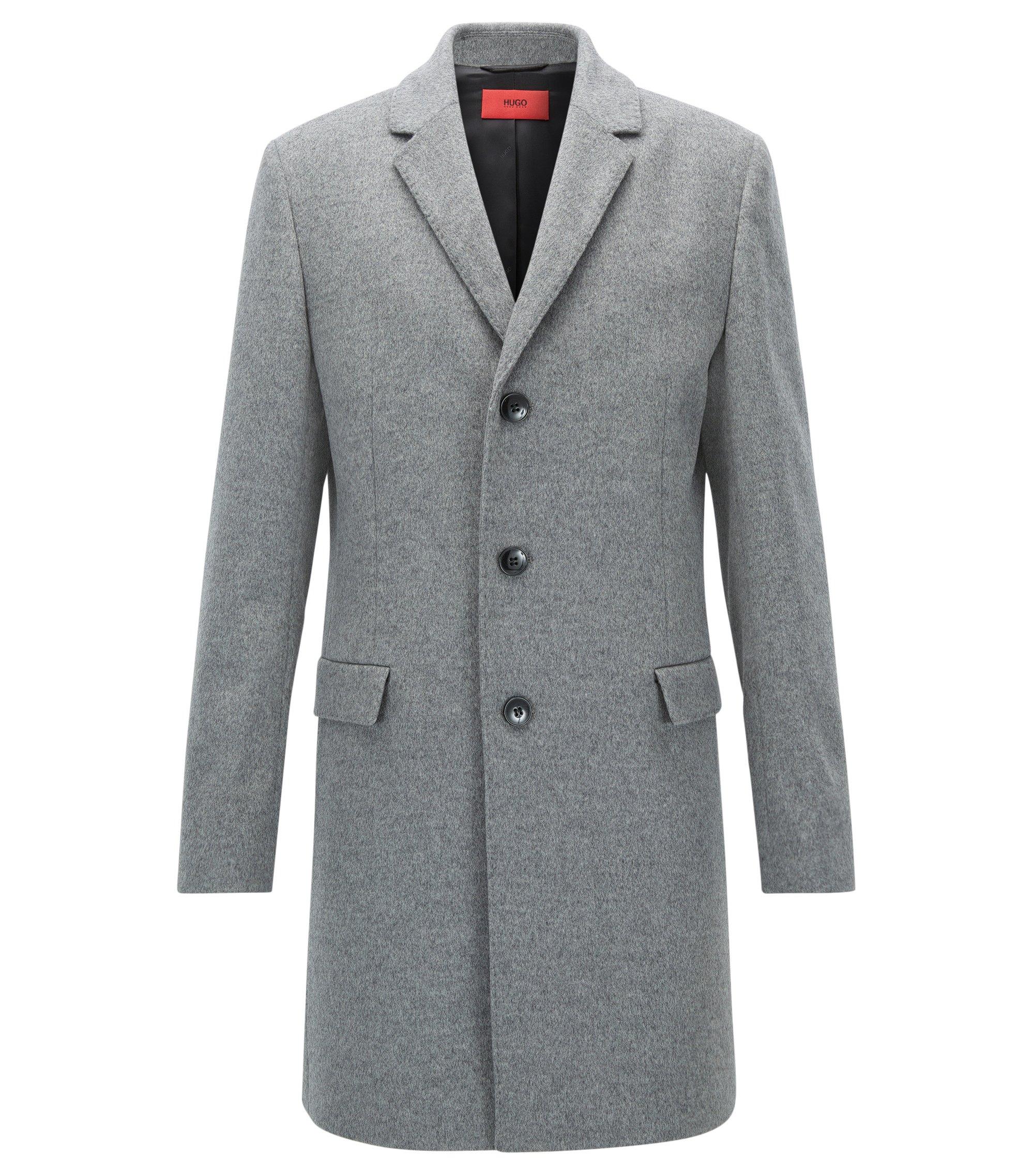 Slim-fit mantel van een wolmix, Grijs