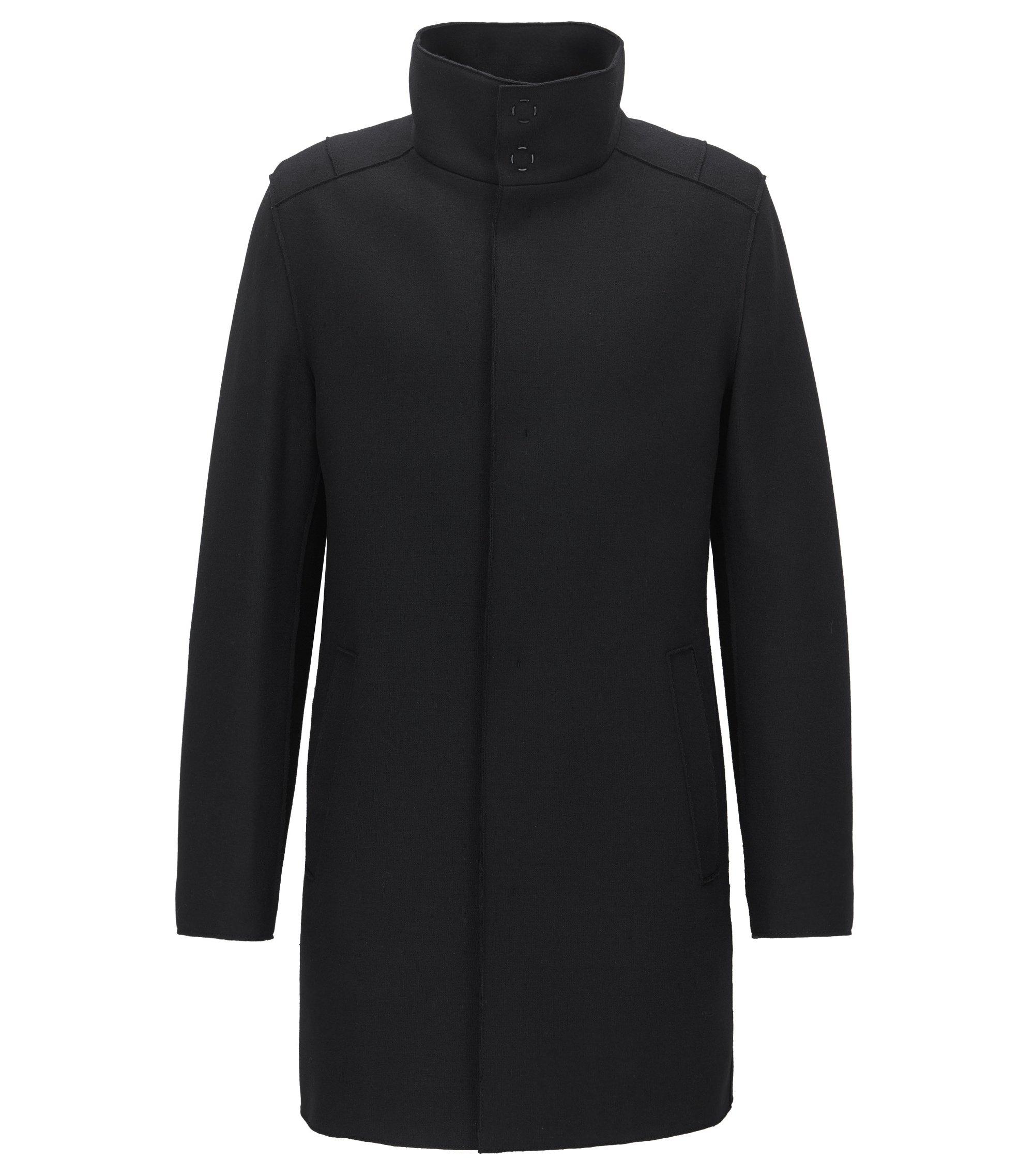 Abrigo slim fit en tejido de punto en mezcla de lana, Negro
