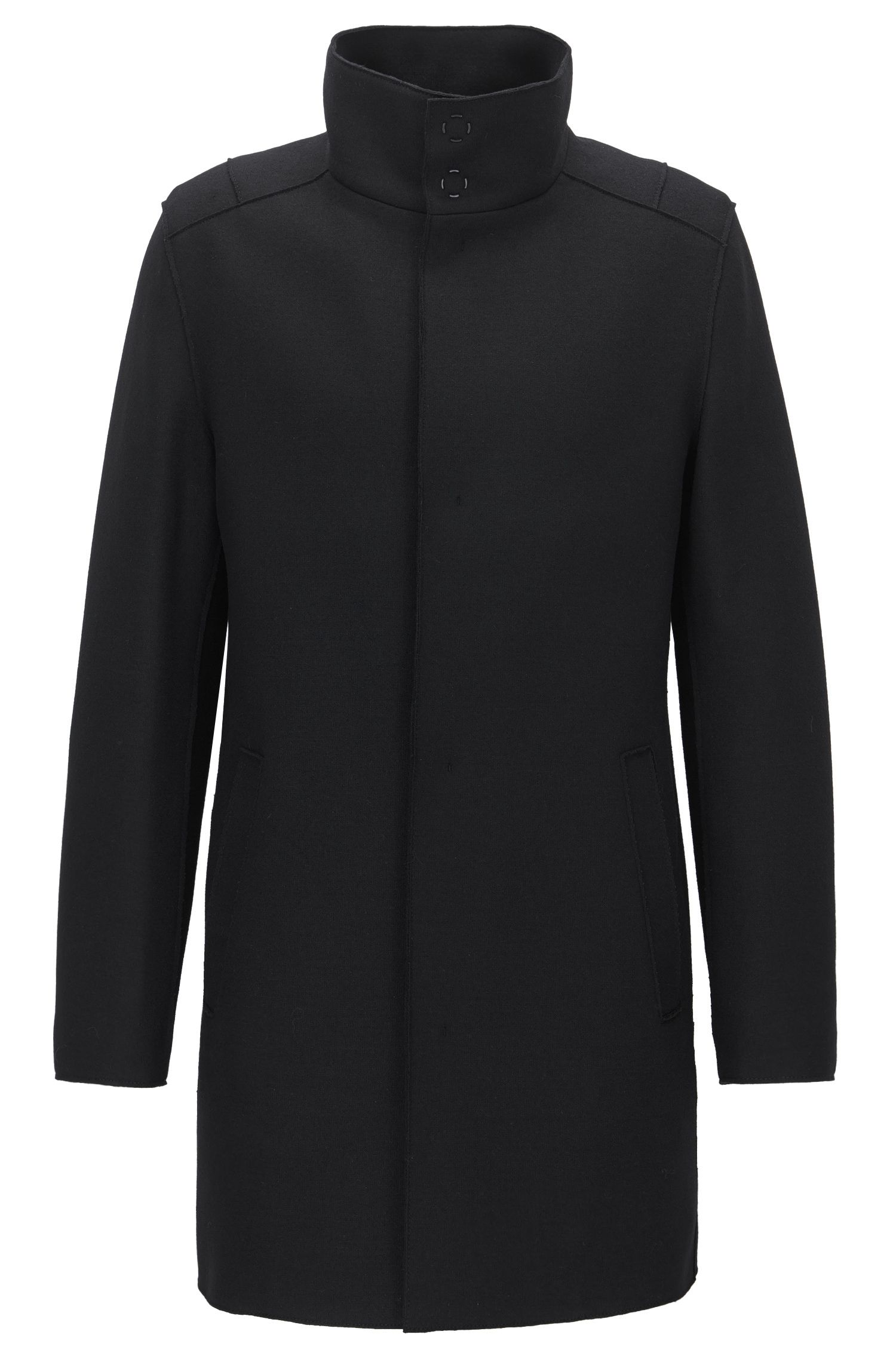 Cappotto slim fit in jersey di misto lana
