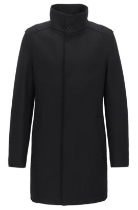 Wool-blend jersey coat in a slim fit, Black
