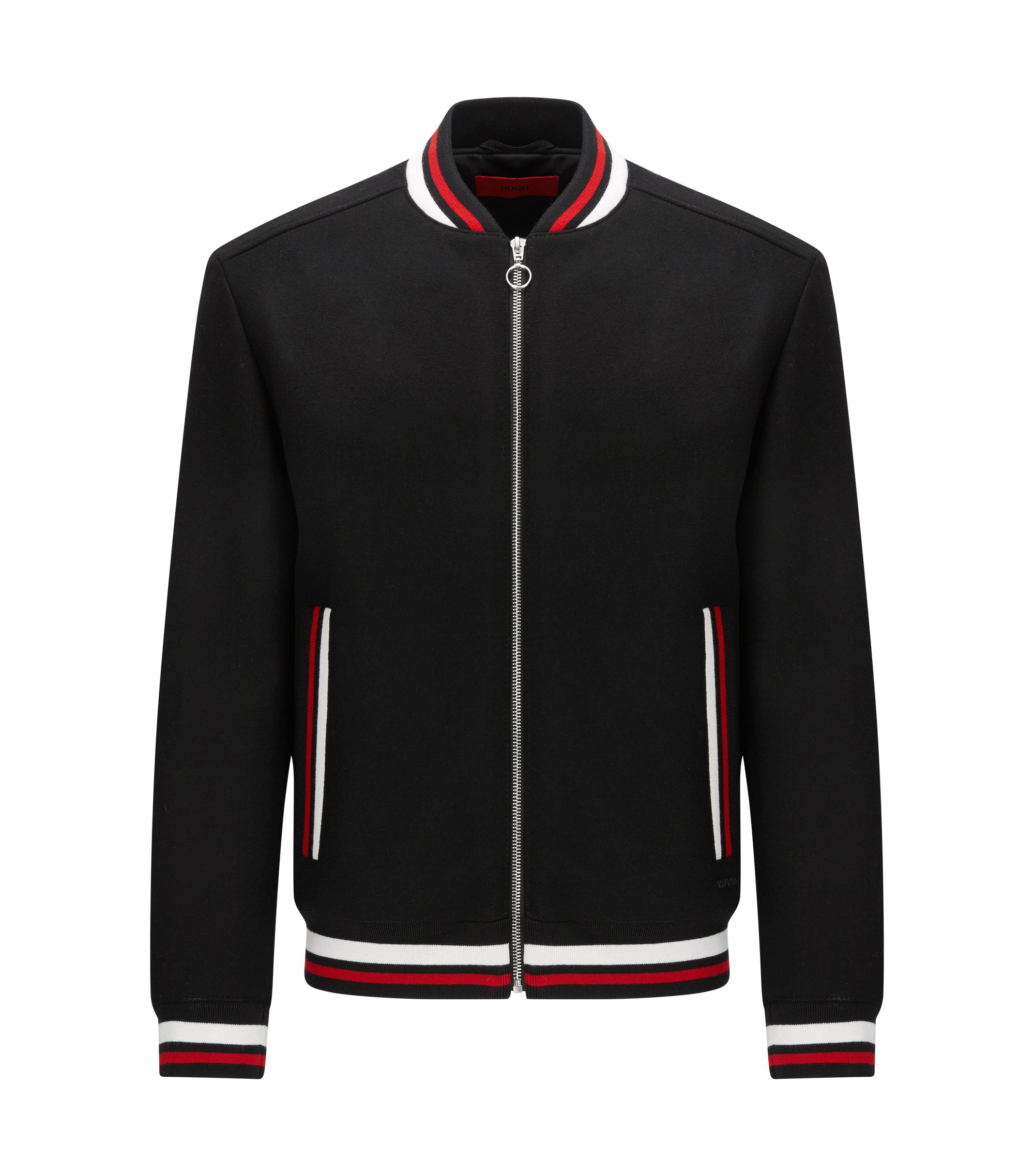 Slim-fit bomber jacket in a virgin wool blend, Black