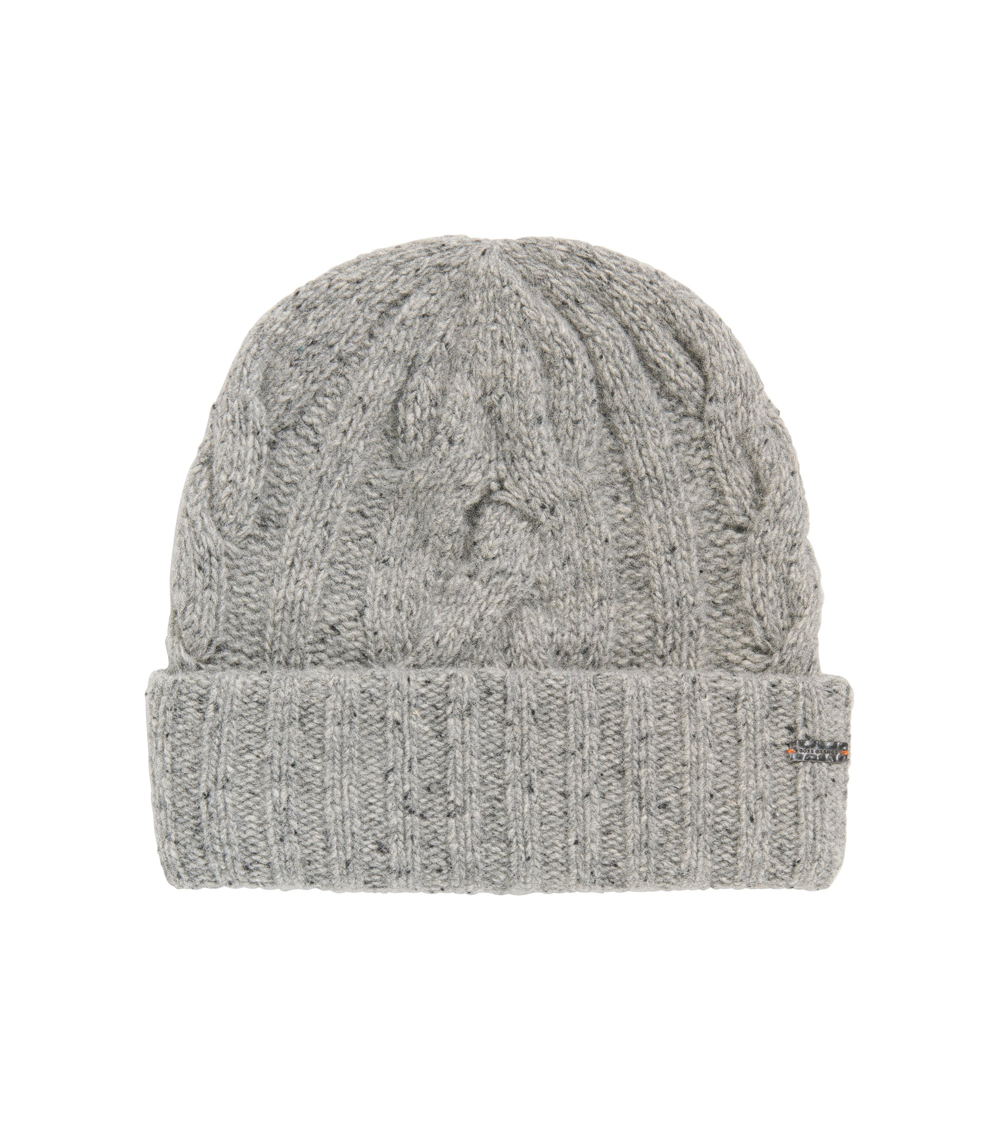 Mehrfarbige Mütze aus Woll-Mix mit Zopfmuster, Grau