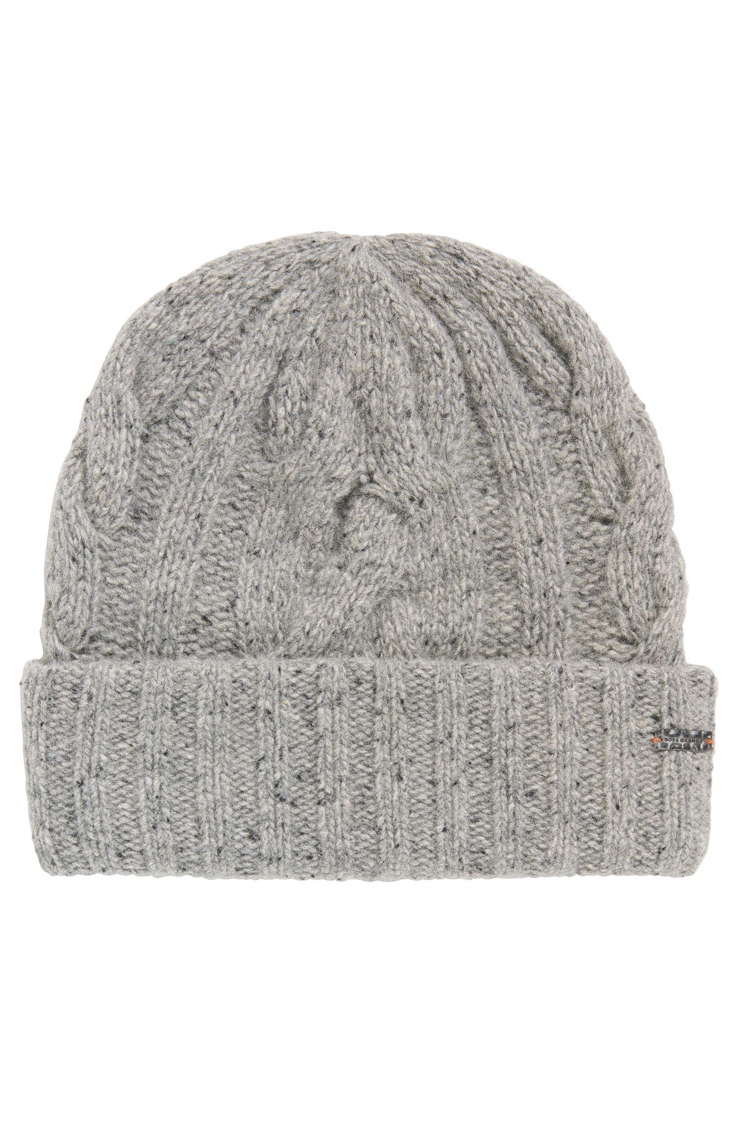 Mehrfarbige Mütze aus Woll-Mix mit Zopfmuster