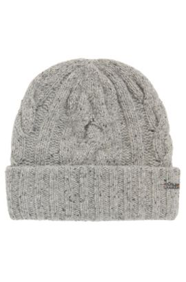 Multi-coloured cable-knit beanie hat, Grey