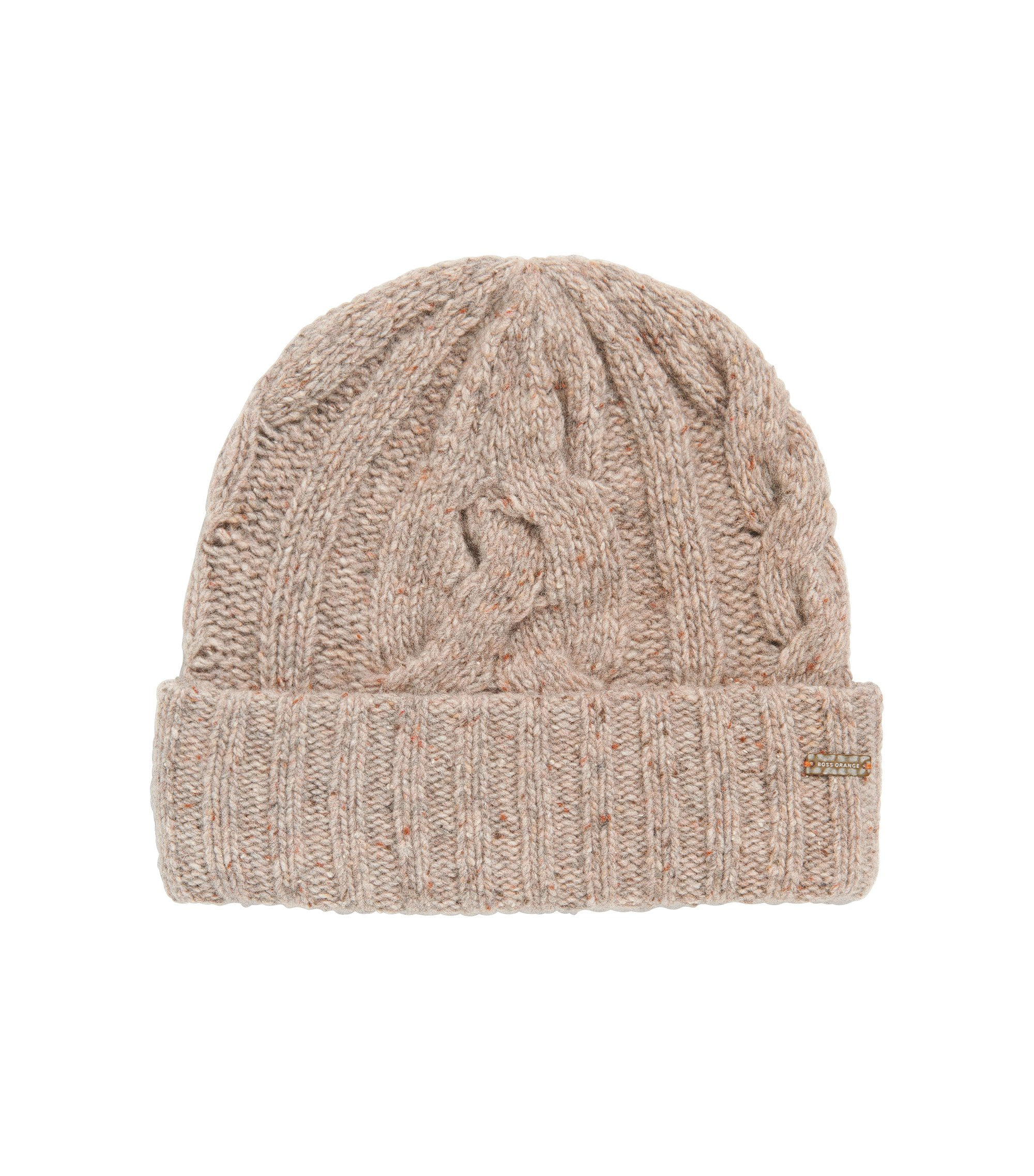 Multi-coloured cable-knit beanie hat, Natural