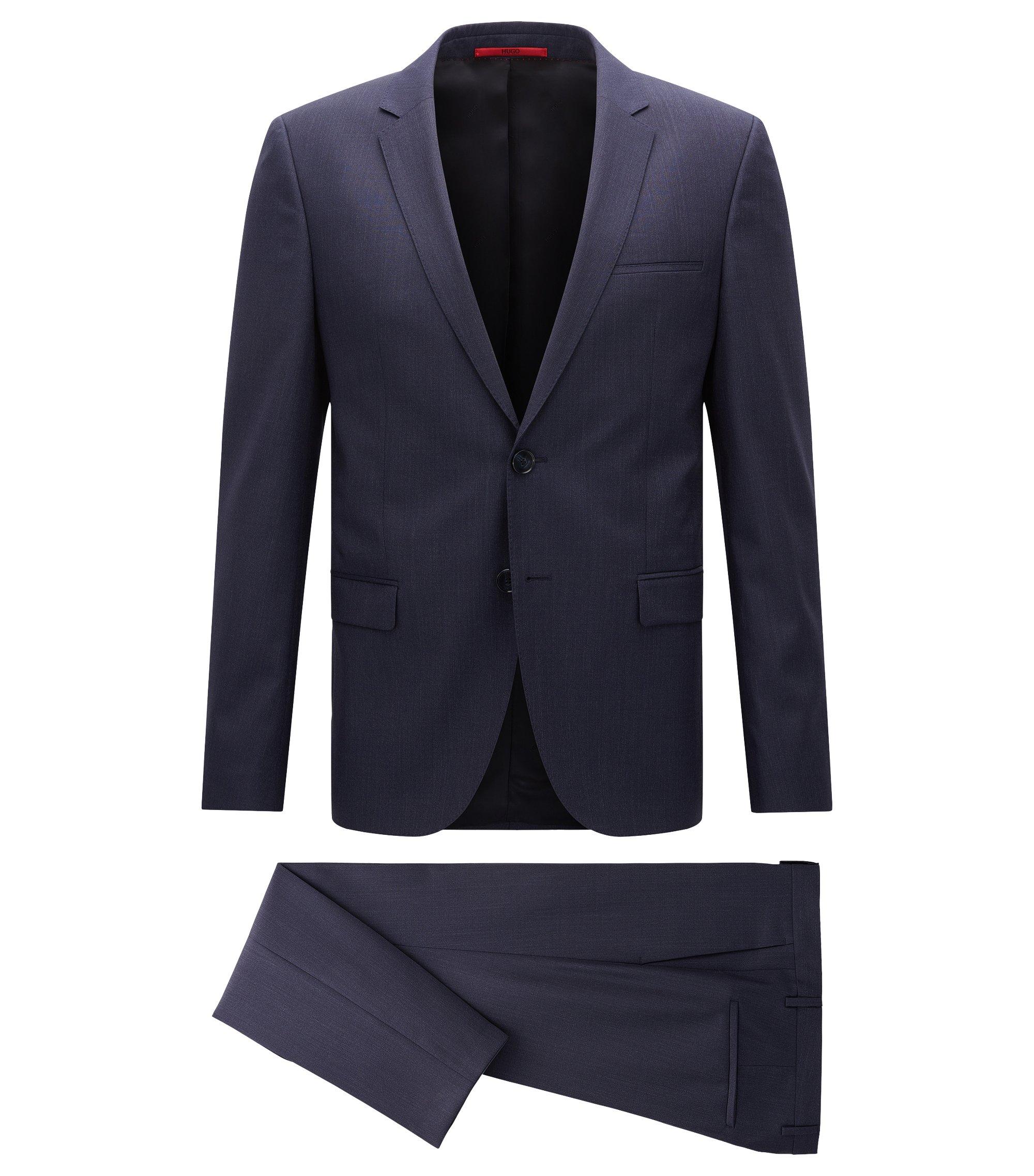 Melierter Extra Slim-Fit Anzug aus Schurwolle, Dunkelblau