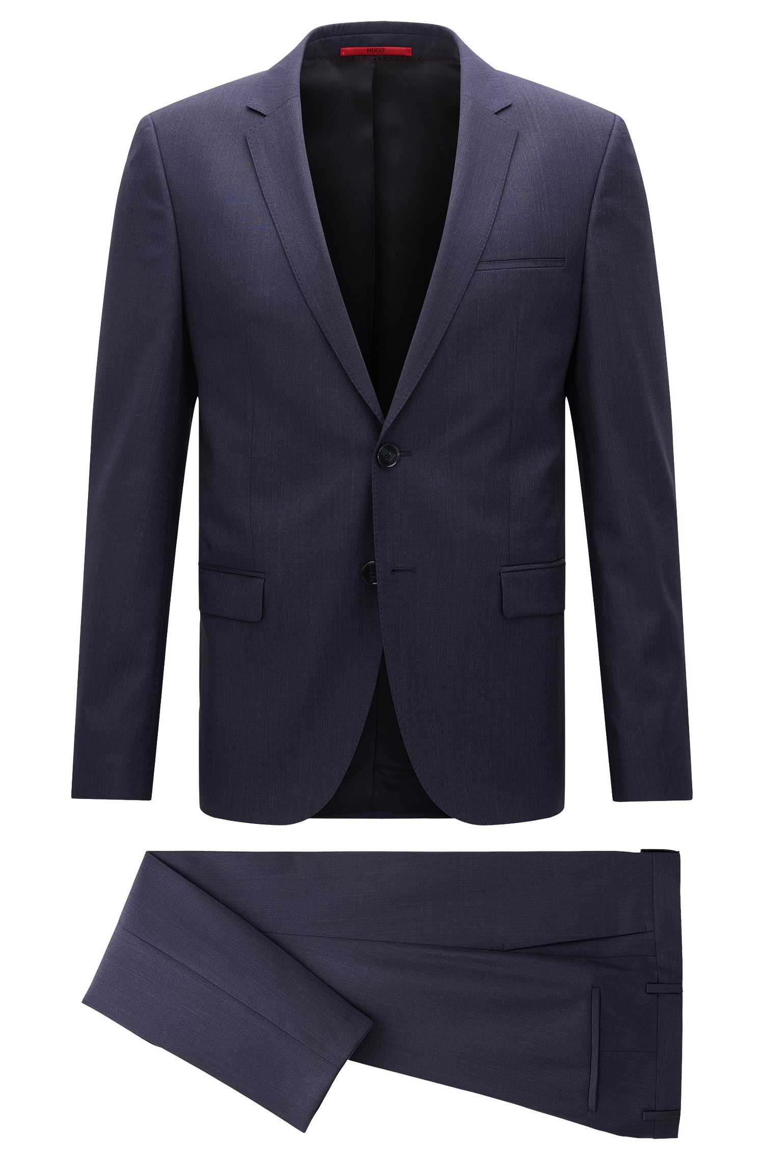 Extra-slim-fit suit in mélange virgin wool