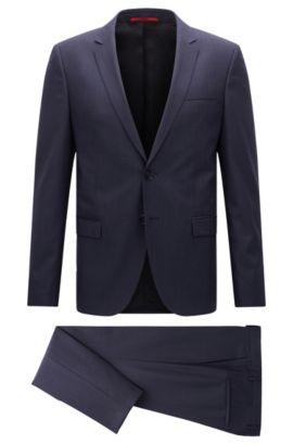 Costume Extra Slim Fit en laine vierge chinée, Bleu foncé