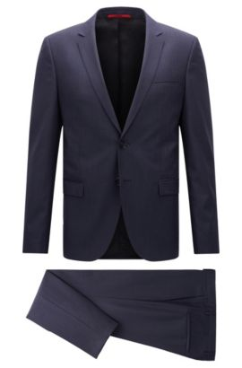 Extra-slim-fit suit in mélange virgin wool, Dark Blue