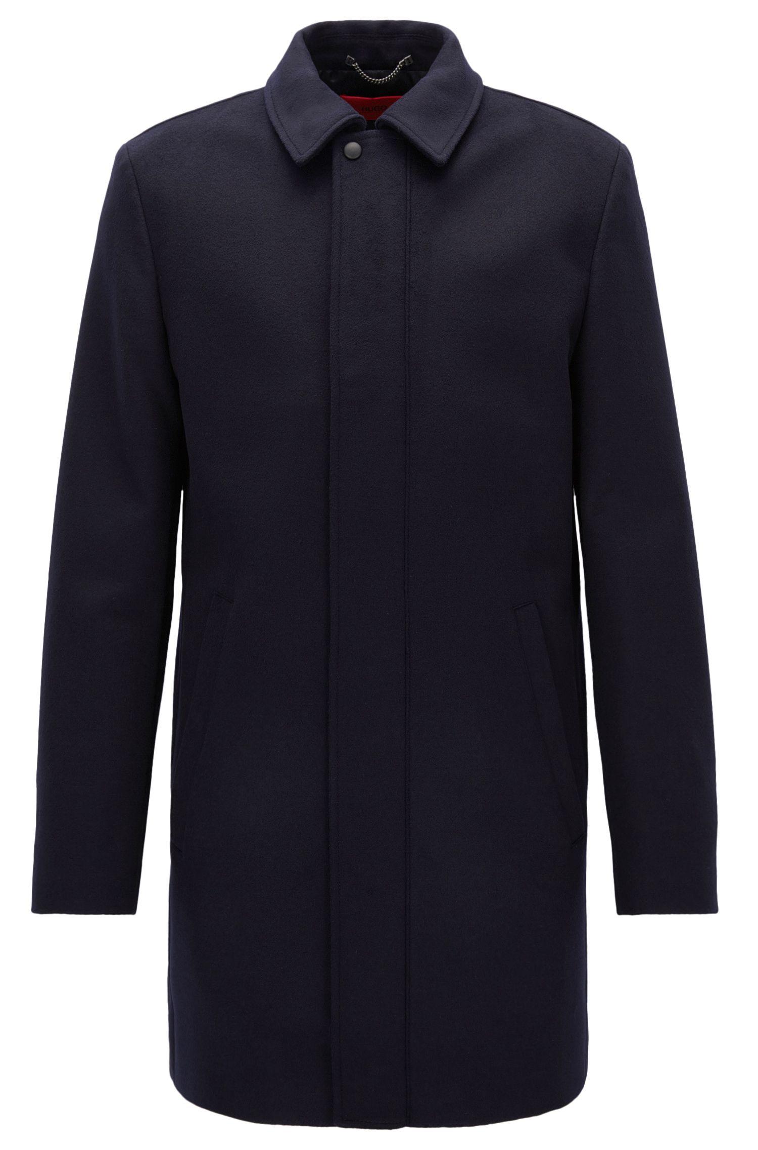 Cappotto slim fit in misto lana vergine