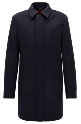 Virgin wool-blend coat in a slim fit, Dark Blue