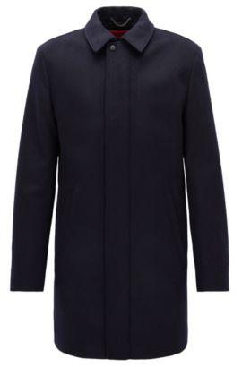 Manteau Slim Fit en laine vierge mélangée, Bleu foncé