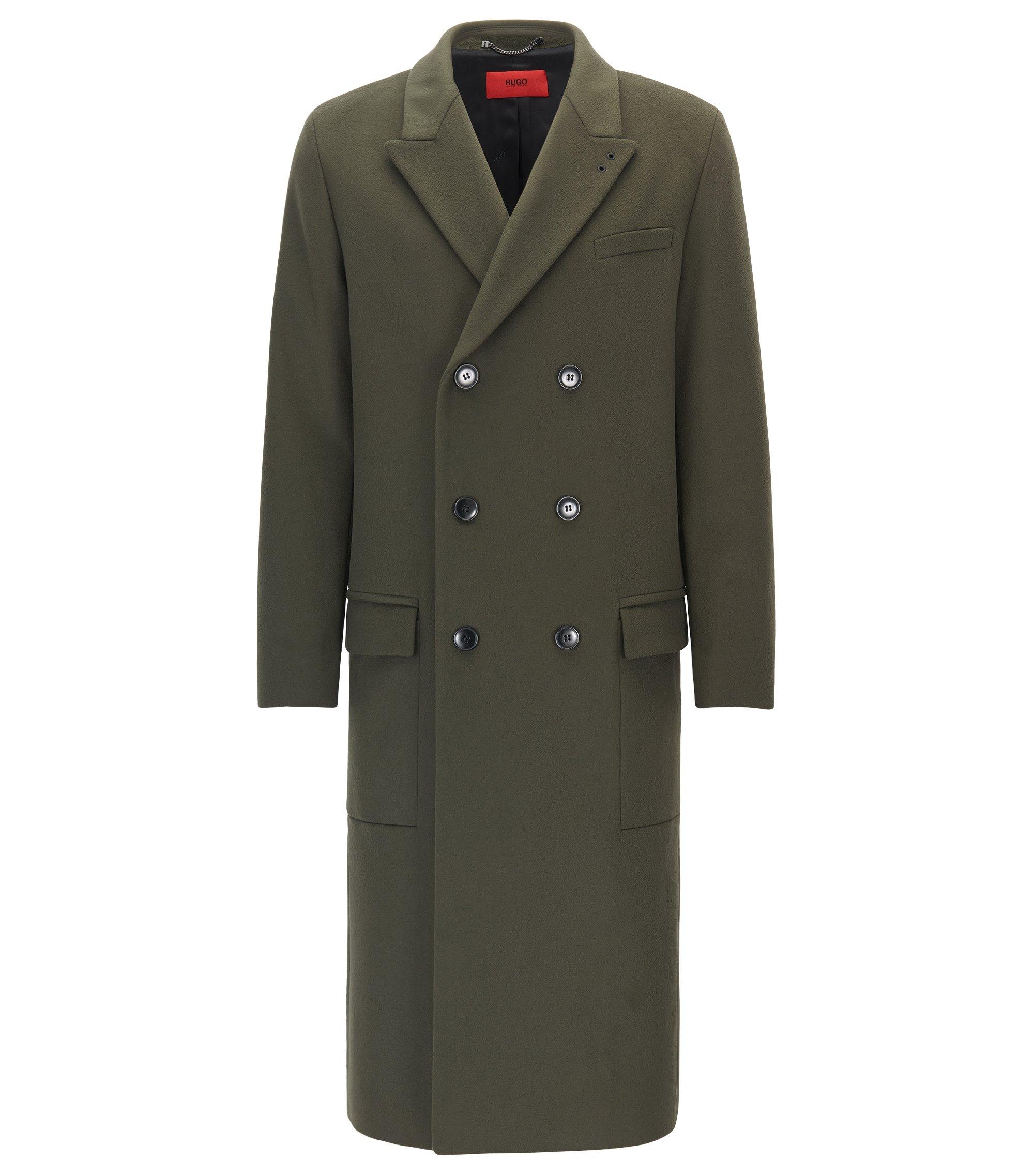 Cappotto relaxed fit in lana vergine e cashmere, Verde scuro