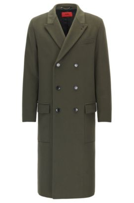 Cappotto relaxed fit in lana vergine e cashmere, Verde scuro