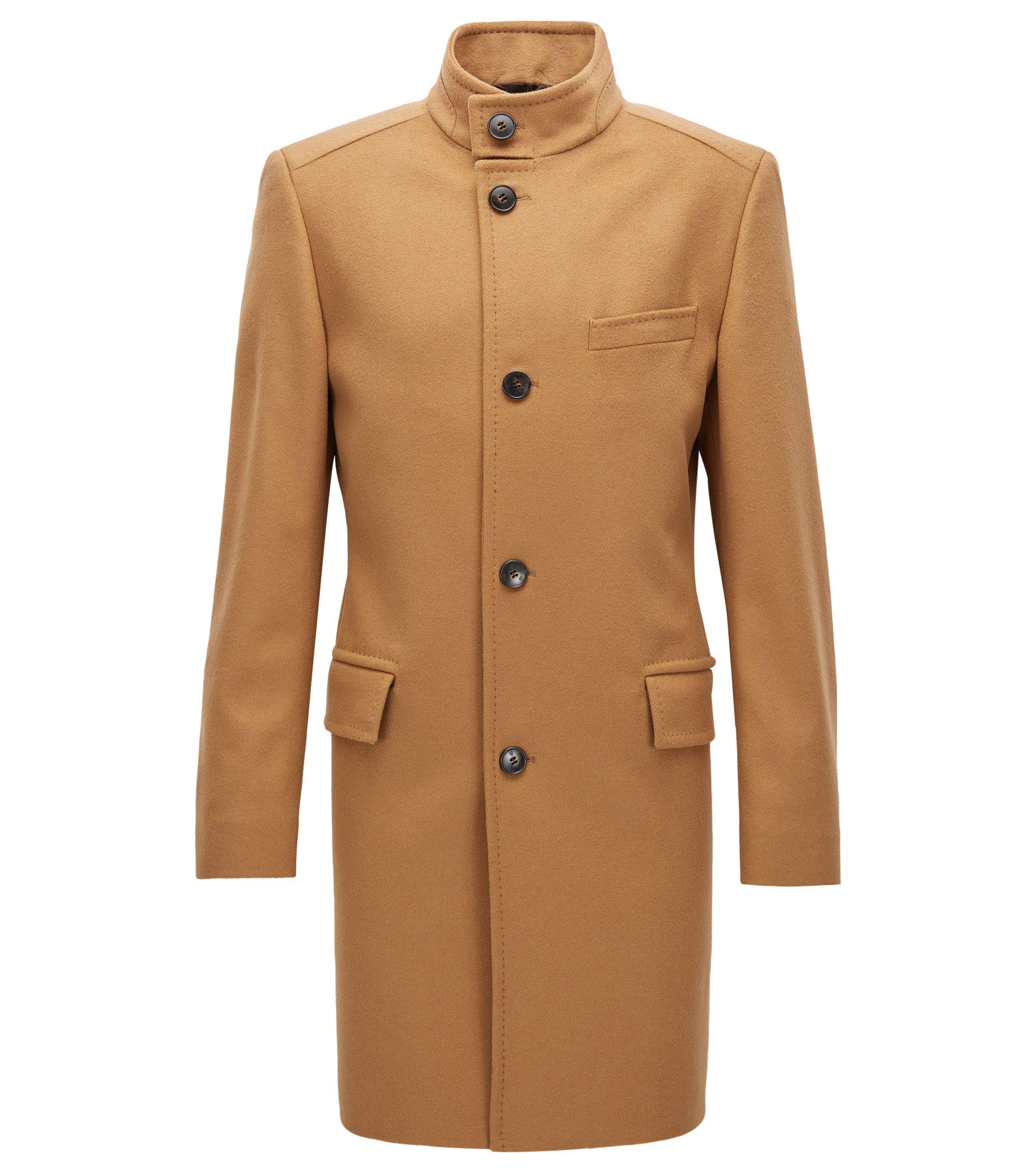 Regular-fit virgin-wool-blend coat with stand collar, Beige