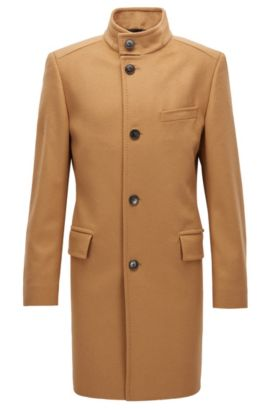 Regular-fit virgin-wool-blend coat with stand collar, Beige
