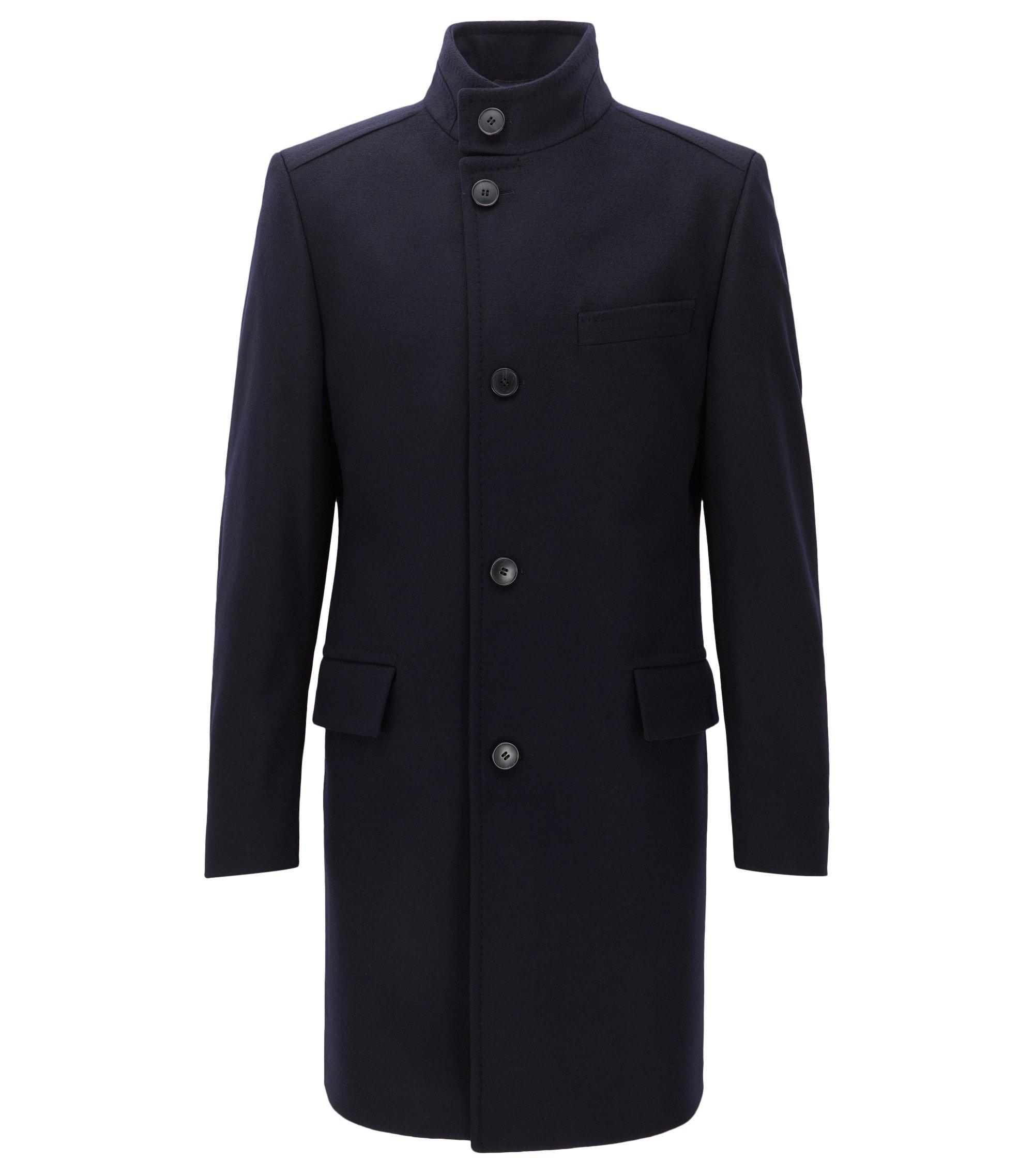 Regular-fit virgin-wool-blend coat with stand collar, Dark Blue