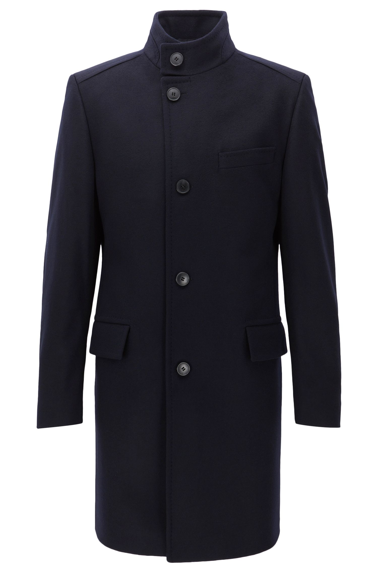 Regular-fit virgin-wool-blend coat with stand collar